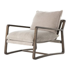 Ace Grey Pewter Oak Wood Living Room Arm Chair, Cobblestone Jute