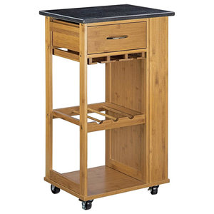 Modern Serving Trolley Cart, Wood Grain With Marble Top, Drawer and Glass Rack