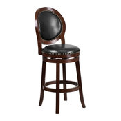 """30"""" High Cappuccino Wood Barstool With Black Leather Swivel Seat"""