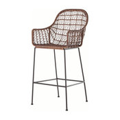 Grass Roots Bandera Woven Stool With Arms, Bar Height