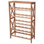 Lavish Home - Classic Rustic Wood 25-Bottle Wine Rack - Small but strong, this wine rack is perfect for utilizing small spaces.