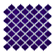 "12.38""x12.5"" Antaeus Mosaic Floor/Wall Tiles, Set of 10, Sapphire"
