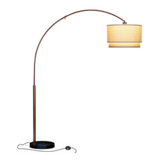 Floor Standing Lamp, Arching Pole With Unique Hanging Drum Shade, Bronze