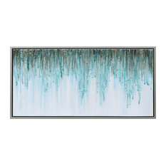 Green Frequency Abstract Textured Metallic Hand Painted Wall Art