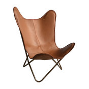 Leather Butterfly Chair, Brown