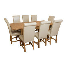 Seattle Oak Extending Dining Table, 8 Washington Chairs, Ivory Leather