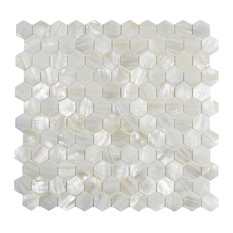 Mother of Pearl Arctic Oyster White shell 1x1 Hexagon Mosaic Tile, 5 Sheet