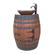 French Oak Wine Barrel Bathroom Vanity, Mahogany And Black