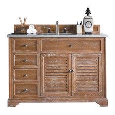 "Savannah 48"" Vanity, Driftwood, 3cm Eternal Jasmine Pearl Quartz Top"