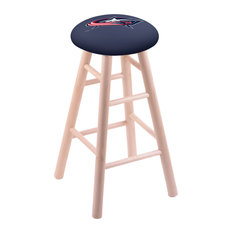 Maple Counter Stool Natural Finish With Columbus Blue Jackets Seat 24-inch