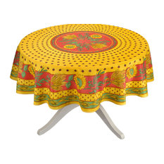 Provence Imports   Tournesol Red, Yellow French Provencal Tablecloth, Round    Tablecloths