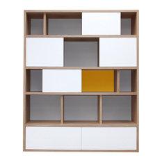 Benodet Bookcase, White and Yellow