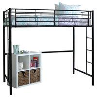 Twin Metal Loft Bed, Black