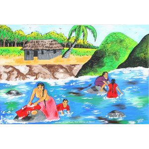 Isiah Nicholas, Laundry at the River, Mayan Indians of Belize, Painting