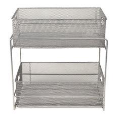 2 Tier Metal Mesh Storage Baskets Organizer, Silver