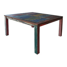Square Dining Table Made From Recycled Teak Wood Boats 47-inch