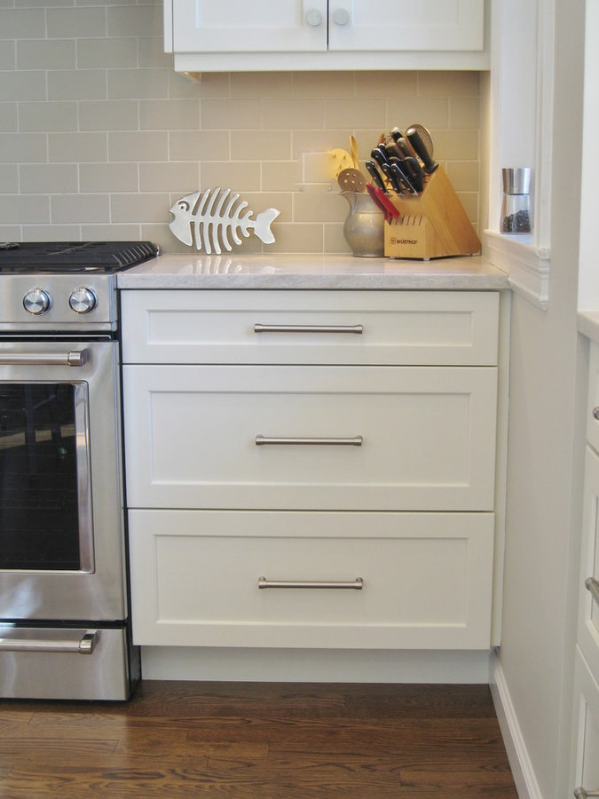 White and Stained Kitchen in Rye