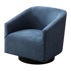 Geneva Cadet Blue Wood Base Swivel Chair, Blue