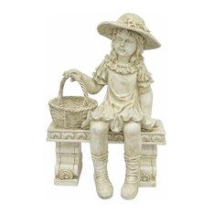 benzara woodland imprts the urban port girl on bench figurine garden statues - Farmhouse Garden Decor