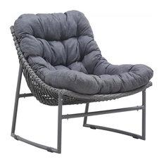 Modern Outdoor Wicker Chair, Gray Aluminum Frame