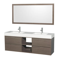 "Daniella 72"" Double Vanity, Gray Oak, Acrylic Resin Top, Sinks, 70"" Mirror"