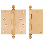 """Charleston Hardware - 5""""x5"""" Solid Brass Removable Pin Hinge, Unlacquered Brass, 5""""x5"""" - Reproduction of an antique hinge with removable hinge pin and screw in opposing ball tip.  Sold brass with milled joints for smooth action. Other finishes available by special order.  Sold each with screws included."""