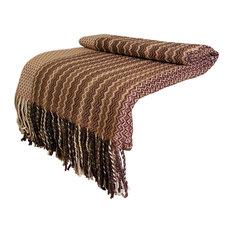 Alpaca and Wool Blend Throw Blanket, Our Moche Throw / Afghan, Beige / Brown