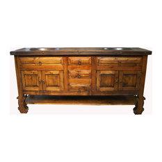 Don Pio Rustic Reclaimed Wood Bathroom Vanity, Natural Stain, 72 X 22 X 36