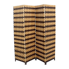 "Brown/Natural Brown Paper Straw Weave 4-Panel Screen on 2""H Legs, Handcrafted"