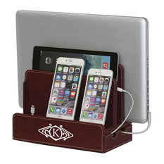 """Monogrammed Multi-Device Charging Station And Dock, Art Deco, Burgundy, """"S"""""""