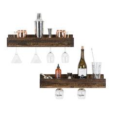 Small Luxe Wine Glass Shelves, Set of 2, Dark Walnut