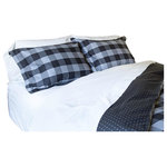 Thread Experiment - Black/Charcoal Plaid Duvet Cover Set Set - For the traditionalist who wants to make a bold statement, this plaid with in-laid texture details is the epitome of comfort & sophistication in herringbone woven with a masculine black and charcoal color palette. Conveniently machine washable. Available in Twin/Twin Extra Long, Full/Queen, King/California King. Each set comes with a duvet cover and pillow sham(s).