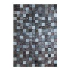 Grey Squares Cowhide Rug, 170x240 cm