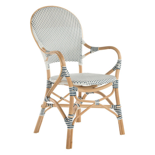 High Quality Rattan Bistro Dining Chair, White And Blue, Set Of 2 Chairs,  With Arm By KOUBOO