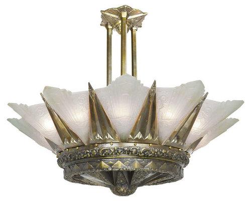 Magnificent Art Deco Chandelier - Chandeliers - Magnificent Large Art Deco Chandelier- The 12 Light