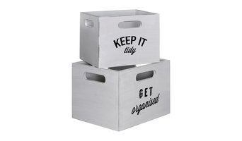 Organise Wooden Slogan Boxes, 2-Piece Set, White