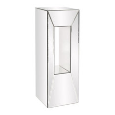 "Howard Elliott Mirrored Pedestal With Offset Opening, 12.5""x12.5""x36"""