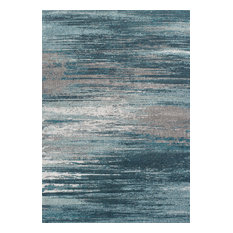 "Addison Platinum Abstract Stripe Area Rug, Peacock, 7'10""x10'7"""
