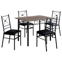 Monarch Specialties I 102 5 Piece Basics Metal Framed Faux Leather Dining Set w
