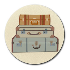 Vintage Luggage Suitcase Travel Mouse Pad