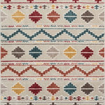 """Well Woven - Moroccan Stripes Area Rug Multicolor, 3'11"""" X 5'3"""" - This rug features chunky, textured yarn and a contemporary tribal design. Warm, neutral tones and subdued colors of red, blue, and yellow complete a design that is soft, stylish, and affordable. The stain and fade resistant materials are easy to clean, meaning less hassle and a rug that looks better for longer. The jute backing is wood floor safe and the edges are serged for increased durability, so it can be placed in any room."""