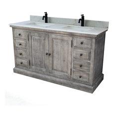 "61"" Rustic Solid Fir Sink Vanity, Gray, No Faucet"