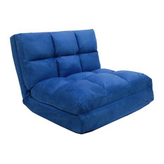 Loungie Micro Suede Convertible Flip Chair Sleeper Dorm Couch Lounger Blue