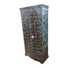 Mogul Interior - Consigned Antique Distressed Teak Wood Spanish-Style Armoire - Armoires And Wardrobes