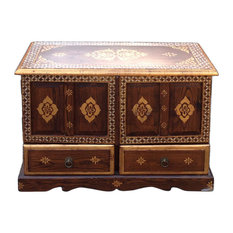 Chinese Medium Brown Golden Graphic End Table Nightstand Hcs1156