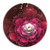 """Fractal Red Rose Flower, Floral Digital Art Disc Metal Artwork, 11"""""""