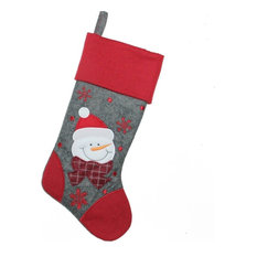 "Northlight Seasonal - 18"" Gray and Red Embroidered Snowman Christmas Stocking - Christmas Stockings and Holders"