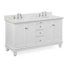 "Bella 60"" Bath Vanity, Base: White, Top: Quartz, Double Vanity"