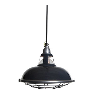 Farsley Enamel Pendant Light, Grey, Grey Cable, With Cage