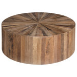 GABBY - Gabby Cyrano Recycled Wood Circular Coffee Table - Cyrano Coffee Table by Gabby. The round Cyrano coffee table is inlaid with pie wedges of recycled reclaimed elm wood in different shades of Natural Brown. The table is slightly elevated off the floor and finished with a water based sealer.